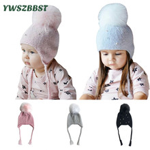 Fashion Baby Hats with Pearl Autumn Winter Hat for Girls Kids Crochet Beanies Boys Caps pom Knit hats 0-3 Years
