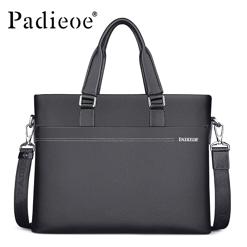 Padieoe Brand Men Handbag Genuine Leather Shoulder Bags Business Briefcase Tote Laptop Bag Crossbody Bag Men's Messenger Bag rdywbu brand genuine leather tote handbag 2017 women colourful flowers patchwork shoulder bag plaid messenger crossbody bag b293