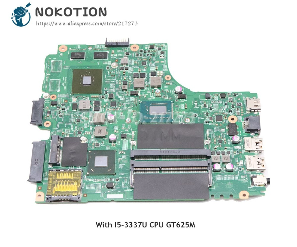 NOKOTION For <font><b>Dell</b></font> Inspiron 15R <font><b>3421</b></font> Laptop Motherboard SR0XL <font><b>I5</b></font>-3337U CPU DDR3 GT625M graphics CN-055NJX 055NJX 55NJX MAIN BOARD image