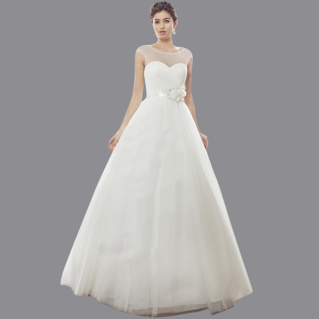 f1c0c8036c US $189.0 |Free Shipping Formal Dress Puffy Sleeveless Beaded Sweep Train  Tulle/Netting Tailor Made Wedding Dress With Sash M1417-in Wedding Dresses  ...