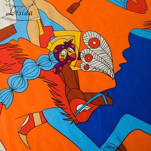 Image 4 - 2020 Big Square Joker Silk Print shawl Ladies New Fashion Cartoon Shawl Scarf Twill Blue scarfs Wholesale 130*130CM Wholesale