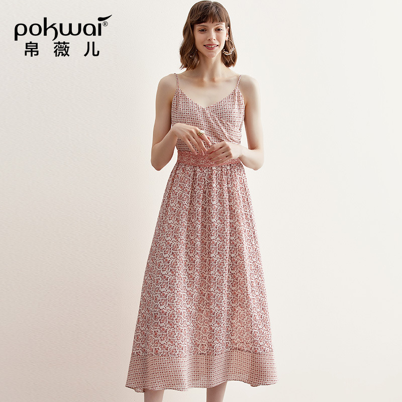 POKWAI Summer 2019 New V neck Sexy Show back Lace Slimming Mid long Temperament Printed Dresses