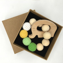 Crochet Bead Teething Ring Untreated Maple font b Teether b font with font b Organic b