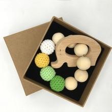 Crochet Bead Teething Ring Untreated Maple Teether with Organic Wood Toy Wood Elephan Bracelet Baby Mom Kids Wooden Teether B