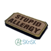 Stupid Allergy Embroidery Military Morale 3D Badge Fabric Armband Badges Stickers Applique Patch