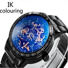 De la Original IK Colouring Marca de Fábrica Superior de Los Hombres de Alta Calidad Relojes Militares de Acero Inoxidable Automático Hombres Mecánicos Relojes Esqueleto