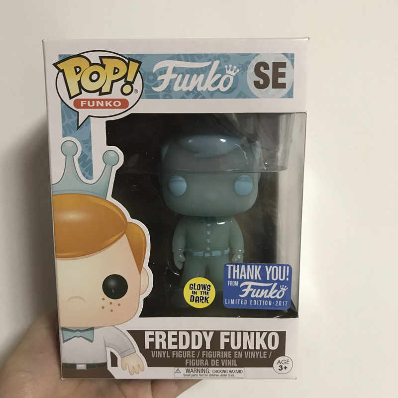 독점적 인 Funko pop 공식 홀로그램 SE TOTY GITD Freddy Glow in the Dark TOTY SE 감사합니다 비닐 그림 Collectible Model