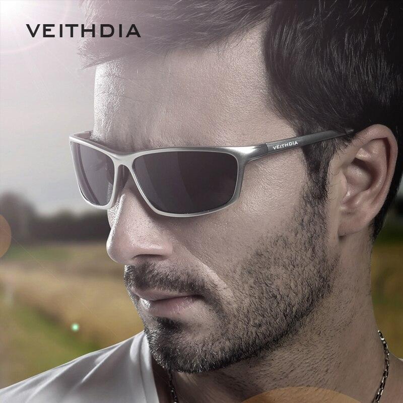 VEITHDIA Marke Designer Aluminium männer Polarisierte Sonnenbrille Sonnenbrille Brillen Zubehör Männer Blau Spiegel Sonnenbrille Goggle 6520