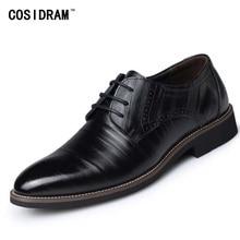 2017 Oxford Schuhe Für Männer Formale Schuhe Aus Echtem Leder Büro Kleid Schuhe Männer Wohnungen Zapatos Hombre Schwarz Oxfords Männlichen BRM-276