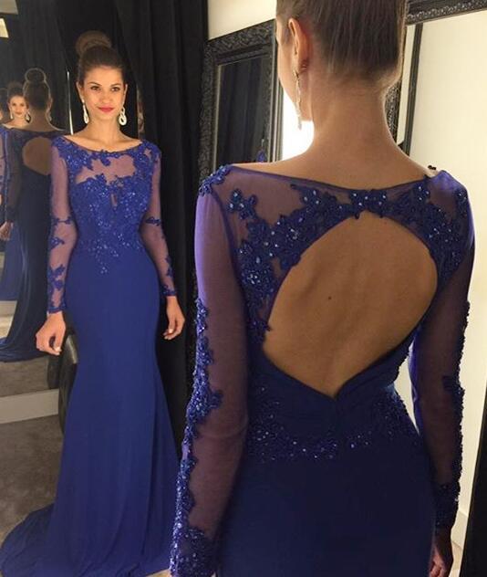 Vestido azul renda chiffon