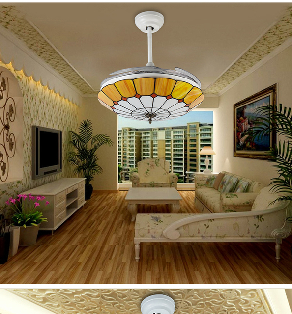 Moderne plafond ventilator licht Tiffany mode onzichtbare ventilator ...