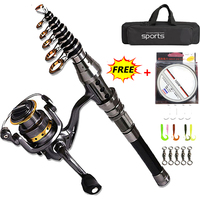 Telescopic Fishing Rod 1.5M 2.4M and 5:5:1 Fishing Reel Wheel Portable Travel Fishing Rod Spinning Fishing Rod Combo