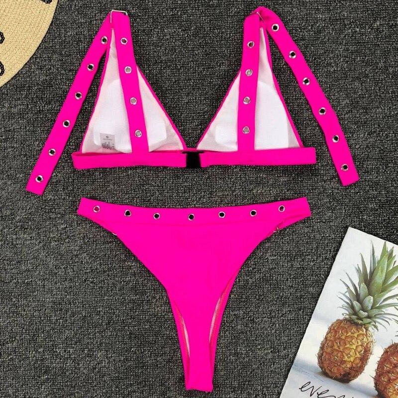 HTB1c4uMNZfpK1RjSZFOq6y6nFXap Neon Green High Waist bikini 2019 Adjust Strap Swimsuit women Thong Swimwear Female Two pieces bikini set Brazilian Bathing Suit