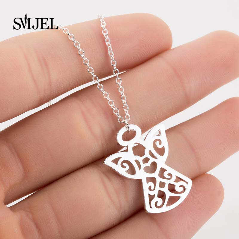 SMJEL Fashion Angel Pendant Necklace Eco Material Alloy Beads Boho Chain Necklace Collier Women Girls Jewelry Friend Gifts 2019