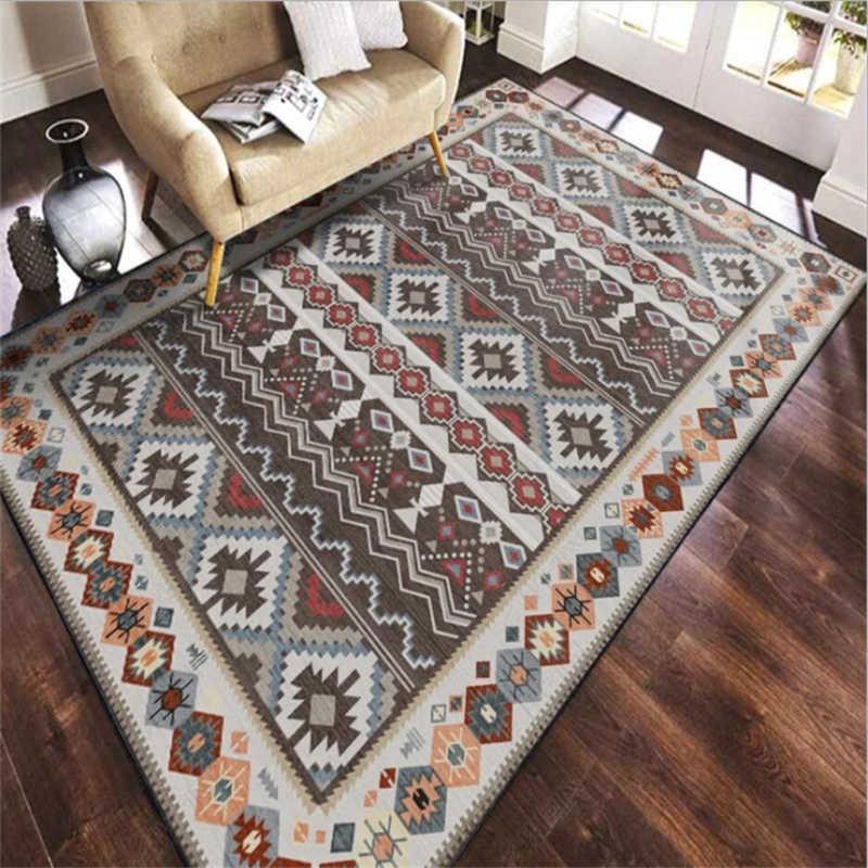 Alfombras de estilo étnico turco Vintage para sala de estar mesa de café alfombras antideslizantes de dormitorio
