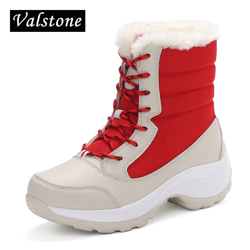 Valstone 2017 NEW winter Velvet shoes women breathable waterproof platform sneakers warm Snow boots anti-skid lace up high-tops kelme 2016 new children sport running shoes football boots synthetic leather broken nail kids skid wearable shoes breathable 49