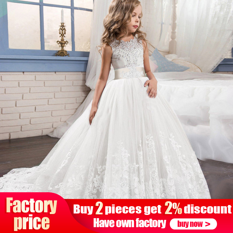 2019 High quality trailing   flower     dress   baby evening wedding birthday   girls     dress   first communion princess costume ladies   dress