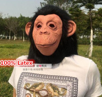 Free Shipping Latex Animal Chimp Gorilla Head Mask Monkey Fancy Dress Lazy Bruno Mars Song Chimpanzee