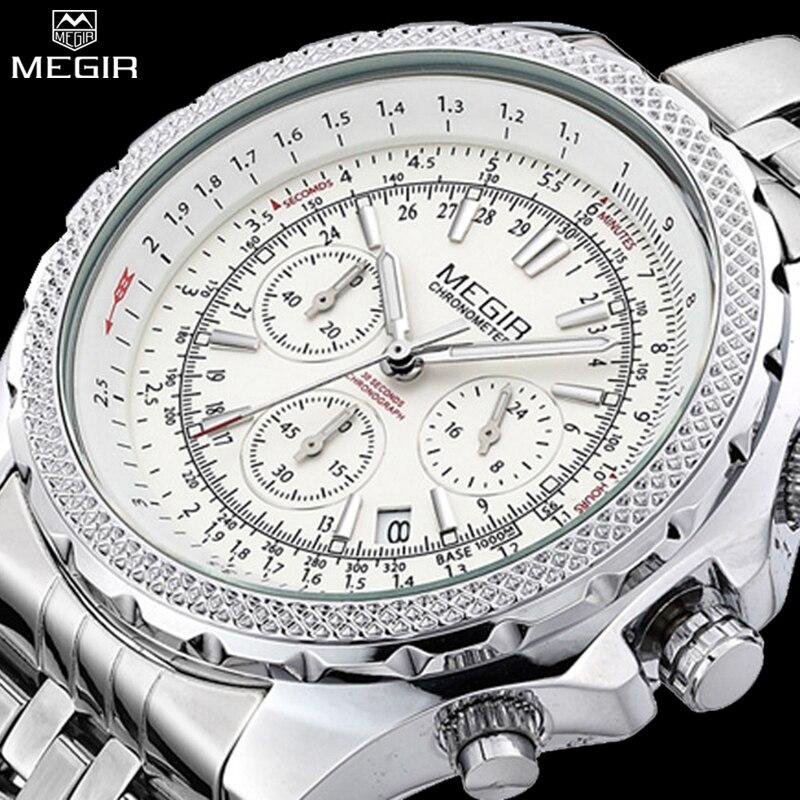 MEGIR Watches Men Fashion Casual Luxury Watch Full Steel Mens Dress Watch Auto Date Waterproof  Chronograph Quartz Wristwatches