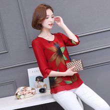 Women Fashion Red Printed Blusas Blue Chiffon Patchwork Blouses Casual Half Sleeves Shirts Summer Feminina O-neck Clothing BH401