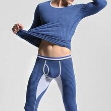 Brand Men Long Johns Thicken Mens Thermal Underwear Sets Striped Winter Legging Men Warm Sexy O-Neck Long John Winter Set