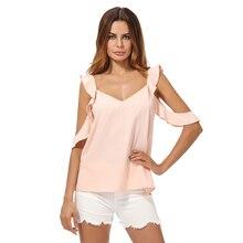 Summer Blouses 2017 Female Pink Cold Shoulder Shirt Business Solid V Neck Hole Short Sleeve Backless Blouse Women Tops blusas