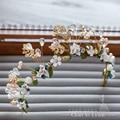 Сладкий Керамические Цветочные Головные Уборы женщин Тиара ручной hairband Ювелирные Изделия перлы Хрустальные украшения для волос свадебный венец свадебные аксессуары