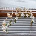 Doce Floral de cerâmica Headwear mulheres Tiara handmade hairband pérola de jóias de cristal enfeite de cabelo crown nupcial acessórios do casamento