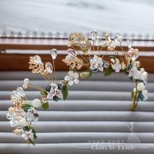 Dulce Floral de Cerámica mujeres Headwear corona nupcial de la Tiara de La Joyería de perlas de Cristal del ornamento del pelo hairband hecho a mano accesorios de la boda