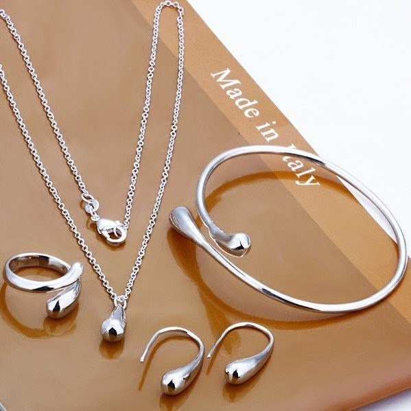 Fashion Jewelry S180 / great promotion silver plated water drops bracelets and bracelets necklace rings earrings for women