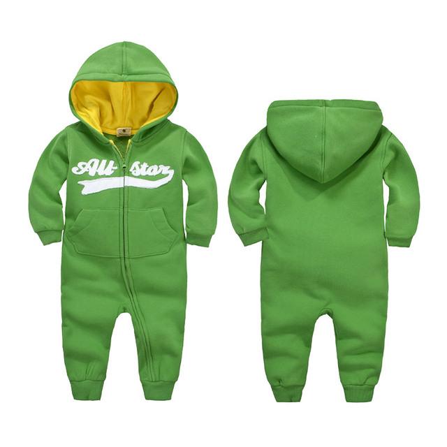 100% Algodão Outono Inverno agasalho menina roupa do bebê Romper Com Capuz Macacão de Bebê Recém-nascido Roupas Íntimas Infantis Meninos Meninas macacão