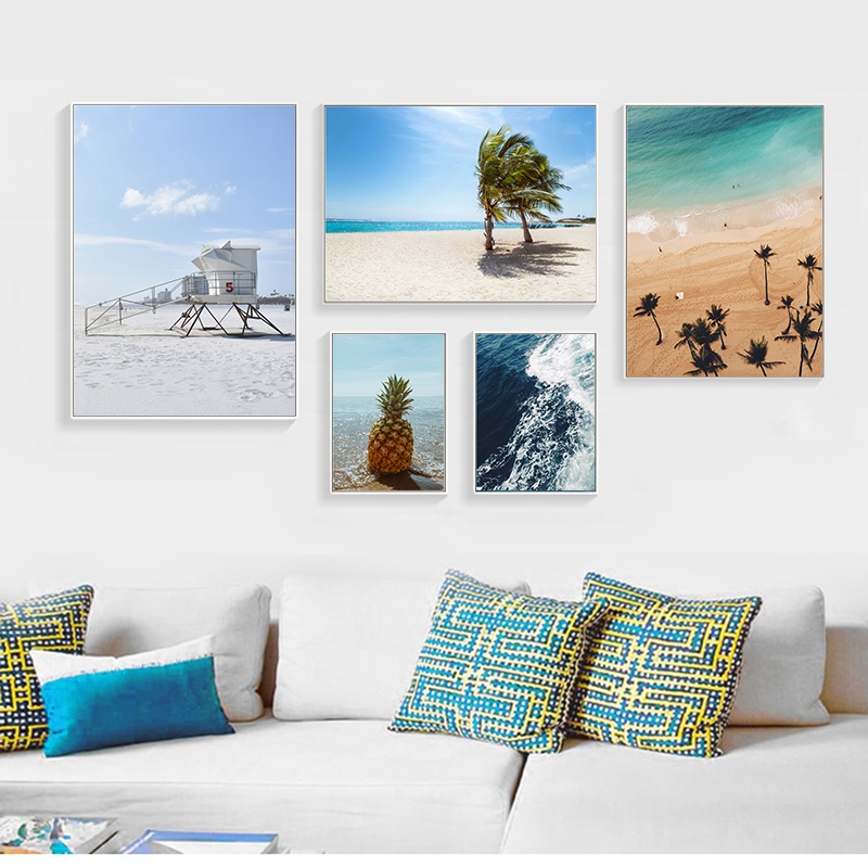 Modern Nordic Wall Art Landscape Poster Pineapple Painting Seascape Canvas Print Sea Beach For Living Room Decor Unframed