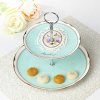 Creative Sky Blue Ceramic Bone china Tea Set Pastry Plate Double Layer Floral Pattern Fruit Tray Cake Platinum Dish Family Gifts