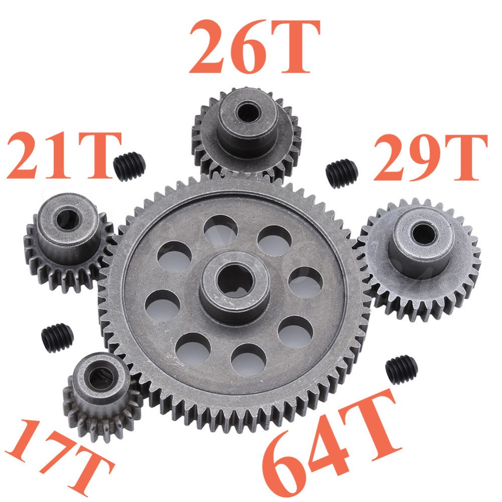 11184 Steel Metal Spur Diff Main Gear 64T Motor Pinion Gears 17T 21T 26T 29T 11176 11181 11119 11189 For HSP Redcat Exceed RC
