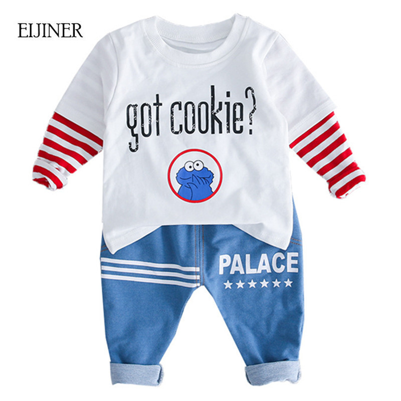 Baby Boy Clothes 2018 Autumn Brand Infant Clothing Letters Long Sleeve T-shirts Tops Jeans Pants Kids Bebes Clothing Set Suits