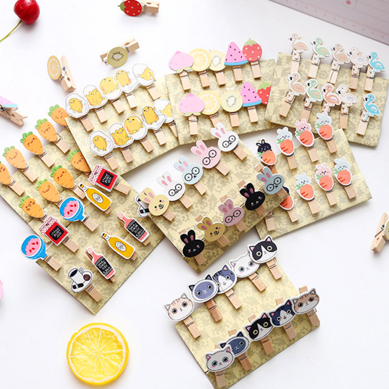 10pcs Cartoon Cat Flamingo Wooden Paper Clip Fruits Carrot Bookmark For Album With Rope Message Stickers Students' DIY Tools