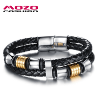 Wholesale 2015 New Fashion Fine Jewelry Tide Men Braided Leather Magnet Buckle Bracelets Bangles For Male