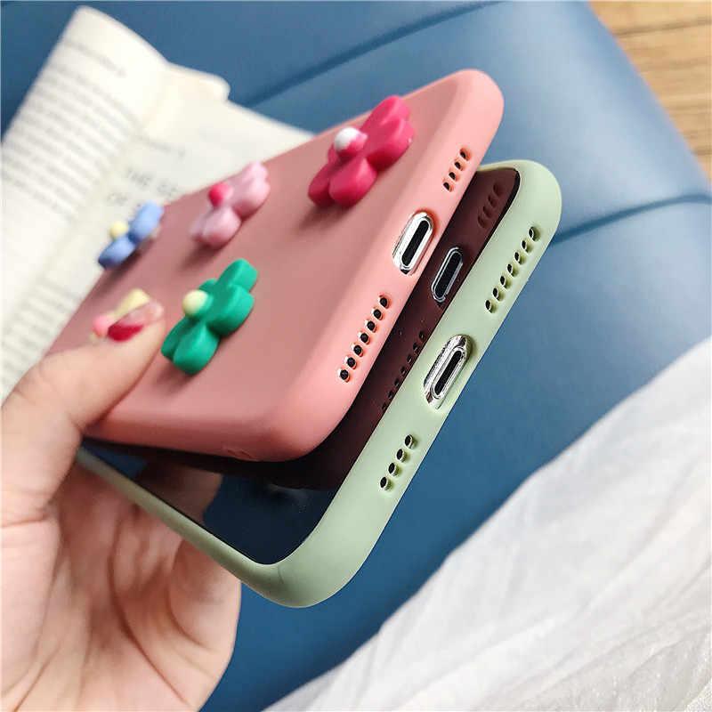 الحلوى اللون سيليكون 3D زهرة حقيبة لهاتف سامسونج غالاكسي S10 5G S10E S9 S8 زائد S6 S7 حافة لينة tpu عودة غطاء كوكه كابا فوندا