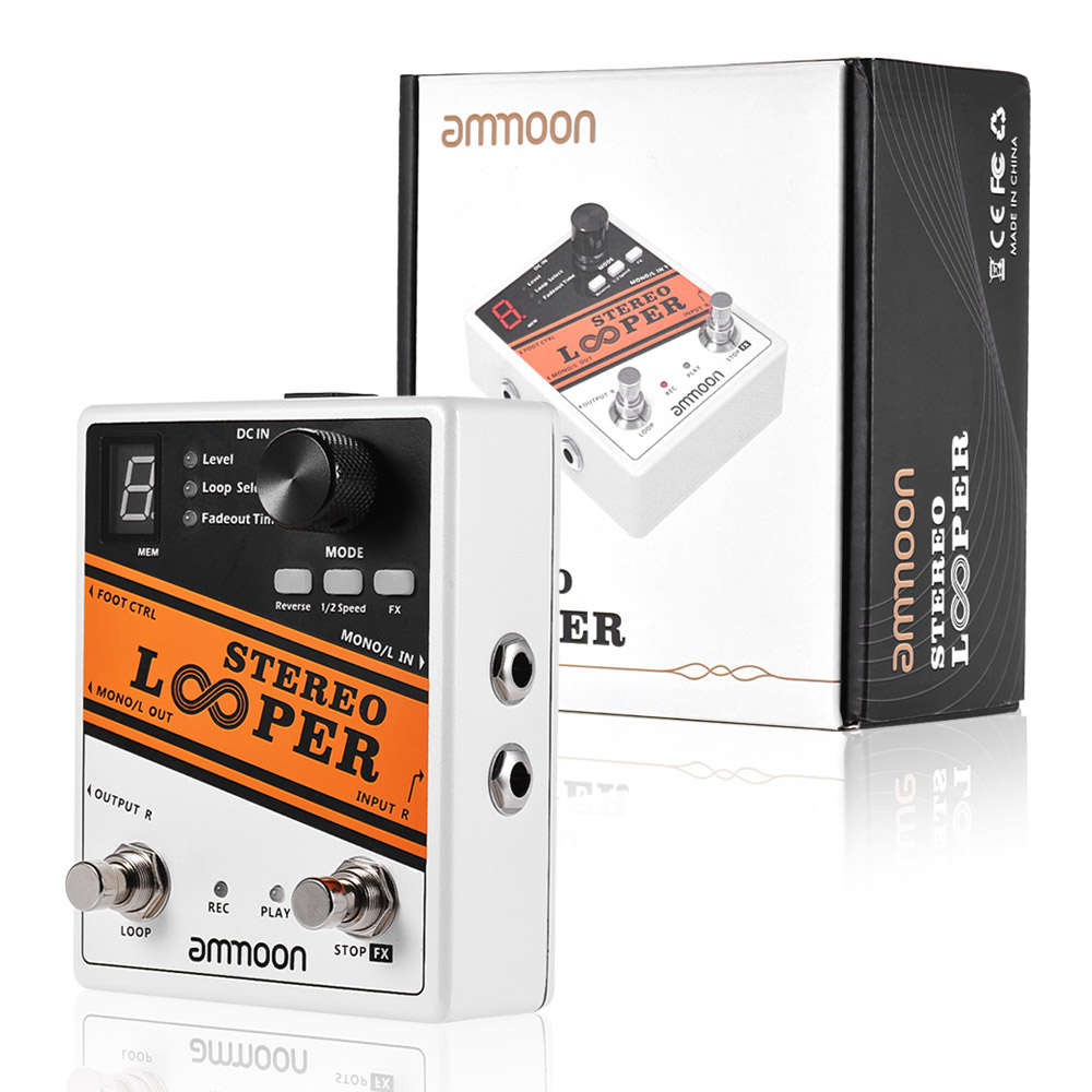 ammoon stereo looper guitar pedal 10 independent loops electric guitar effect pedal 10min. Black Bedroom Furniture Sets. Home Design Ideas