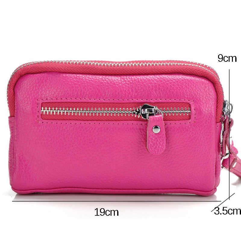 HMILY Frauen Handtasche Aus Echtem Leder Weibliche Handtasche Freizeit Umhängetasche Damen Doppel-reißverschluss Handytasche Große Kapazität Brieftasche