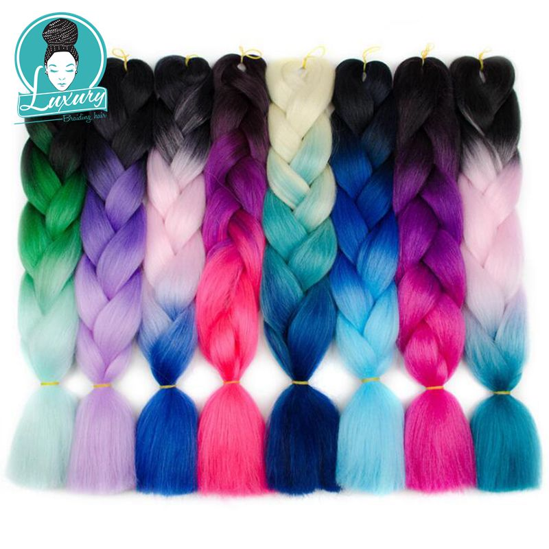 ýCloseout DealsPink Hair-Extensions Braiding Crochet Jumbo Pure-Blonde Green 24inch 60cm Ombre 10pcs/Lot°