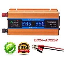 24 v profissional 1200 w inversor Carro 220 v Conversor de Voltagem Volts display 24 v a 220 v Carregador de Carro saída 50 hz