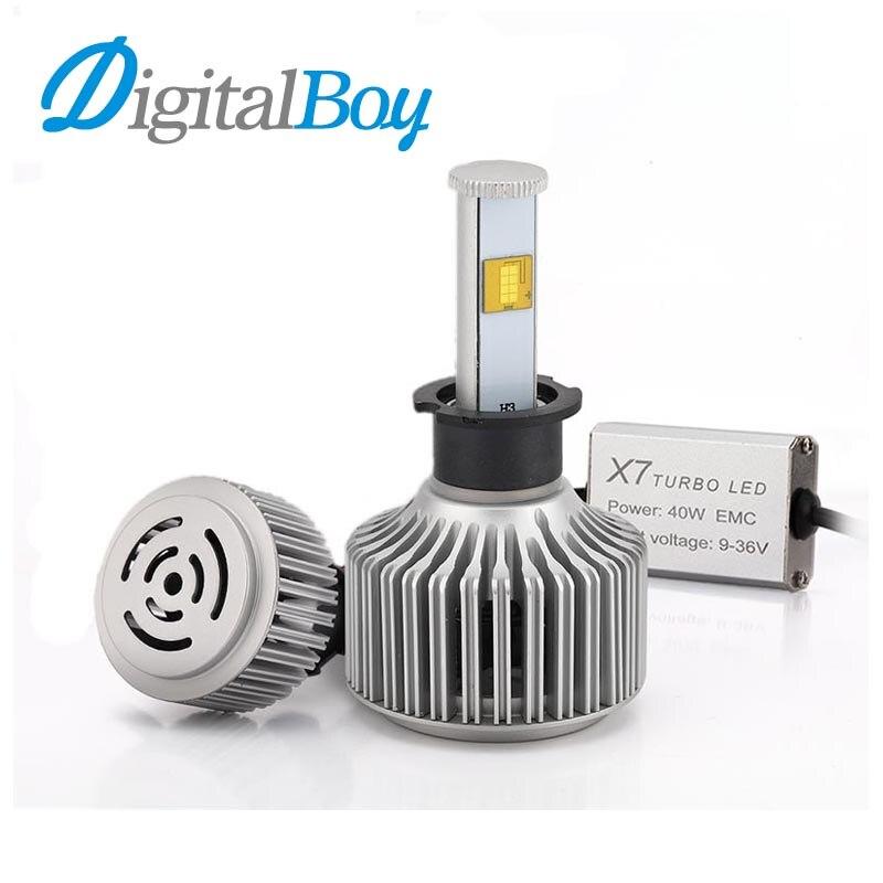 ФОТО Digitalboy Car H3 LED Headlight 80W 7200LM 6000K Bulbs Car LED Headlamp Conversion Kit Super Bright Automobile Front Light