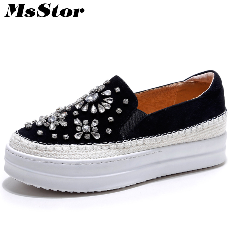 MsStor Women Crystal Thick Bottom Shoes Fashion Slip On Loafers Casual Women Flat Shoes Spring Round Toe Pregnant Women Flats casual flat shoes woman 2018 spring solid loafers slip on flats fashion round toe women shoes 3 colors size 35 40 f039