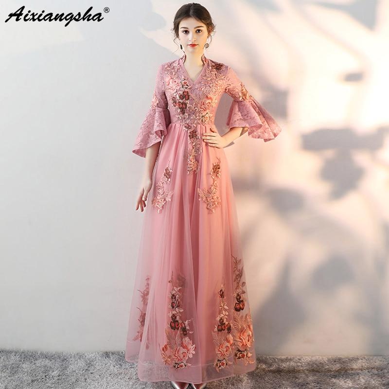Vintage Embroidery Custom Color Plus Size V-NeckThreeQuarter   Prom     Dresses   2018 vestido de festa   Prom     Dress   Elegant vestido longo