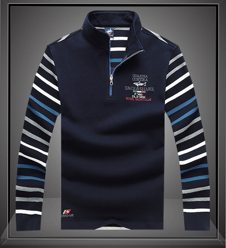 polo   shirt men cotton   polo   men Long sleeve casual Brand Tace&shark lapel stripe embroidery 2019 Billionaire Zipper stand collar