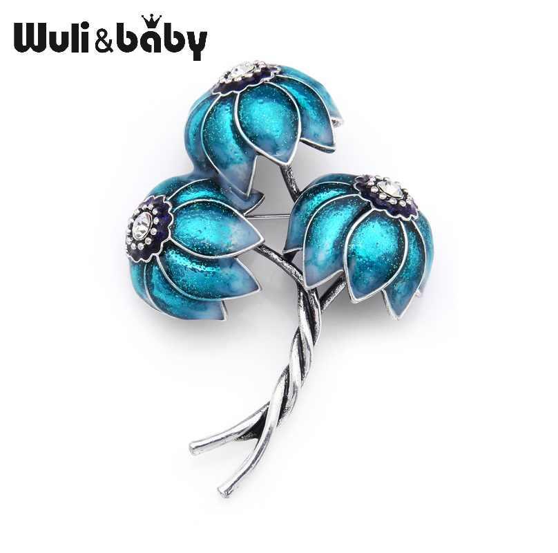 Wuli & bebê clássico roxo azul especial flores esmalte broches plantas de metal casamentos banquete festa broche pinos para mulher e homem