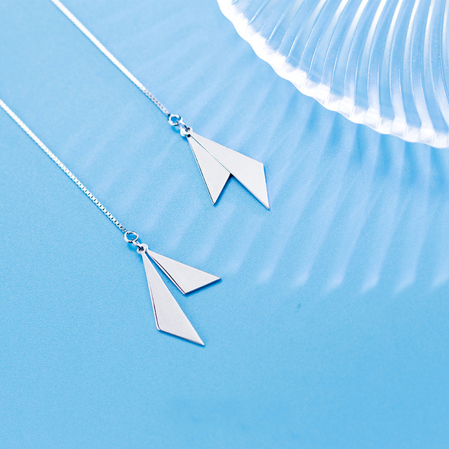 MloveAcc High Quality 925 Sterling Silver Sparking Triangle Drop Earrings Women Long Box Chain Sterling Silver Jewelry