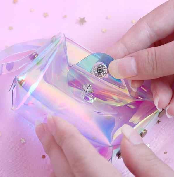 Bolsa de Moedas de geléia Ins Menina Coração Moeda Bolsa Versão Coreana da Praça de Laser Transparente Pacote Linha De Dados do Sexo Feminino Ao Ar Livre ferramenta