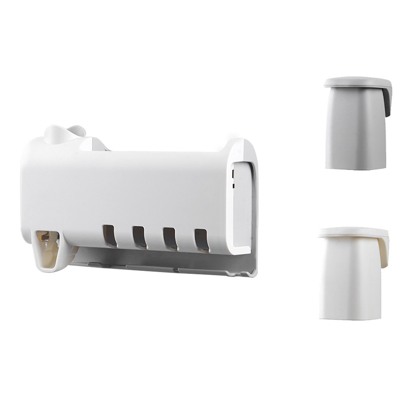 Toothbrush Holder Set, Save Space No Drill Wall Mount Toothpaste Dispenser(China)